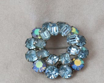 Vintage Weiss Blue Aurora Borealis Brooch/Pin
