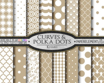 Khaki Brown Geometric Digital Paper - Tan Printable Patterns with Taupe Geometric Shapes - Digital Download Brown Quatrefoil Backdrop