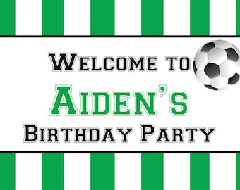 Soccer Ball Party Personalized Yard Sign | Sports Party Banner | Soccer League | Waterproof Sign | Custom Lawn Sign