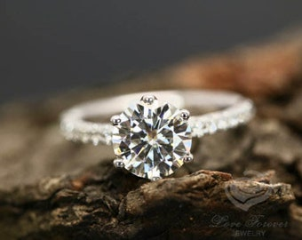 Certified 8mm/2 Carats Round Cut Forever One G-H Color Moissanite 14k White Gold Diamond Engagement Ring (Other Stones & Metals Available)