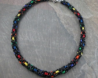 "Chainmaille Choker- Rainbow Chainmaille - Pride Necklace - Chainmail Choker - 13 1/2"" Length - Pride Jewelry - Rainbow Chainmaille"