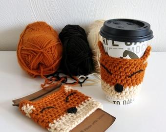Happy Fox Cup Cozy | Fox Cup Cozy | Crochet Cup Cozy | Crochet Fox Cup Cozy | Crochet Fox | Cup Cozy | Crochet Fox Coffee Sleeve