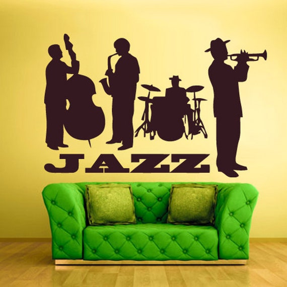 Jazz wall decal jazz wall art jazz wall decor jazz wall stickers jazz band wall decoration music wall decals z627