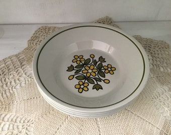 Vintage Mikasa Epiqure-One, Elka bowls, discontinued, D4401, made in Japan, daisies, cereal bowl, tableware, dinnerware, stoneware