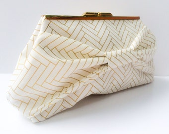 White and Gold Bow Clutch