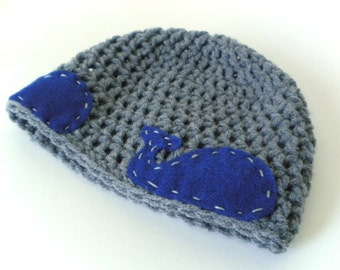 Crochet Hat - Aquatic Beanie in Blue-Gray with Navy Blue Felt Whales - Nautical Hat for Baby / Toddler / Boy / Girl / Man / Woman