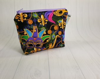 Mardi Gras Masks Notions Pouch, Mini Zippered Wedge Bag, Knitting Notions Pouch, Craft Pouch NP0038