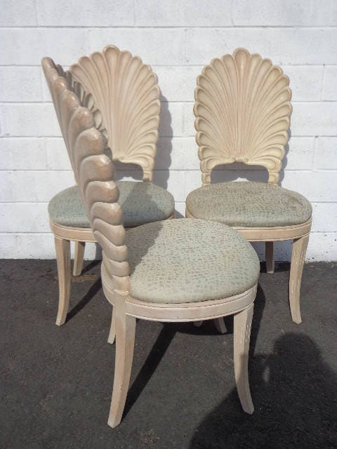 Dining Chairs Grotto Italian Carved Wood Seashell Shell Back Dining Set  Chair Miami Beach Regency Seating Vintage Tropical Glam Hollywood