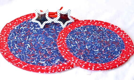 Memorial Day Trivets, 2 Patriotic Mug Rugs, Handmade Quilted Hot Pad Set of 2,  Veteran's Day Decoration, Stars and Stripes Table Topper