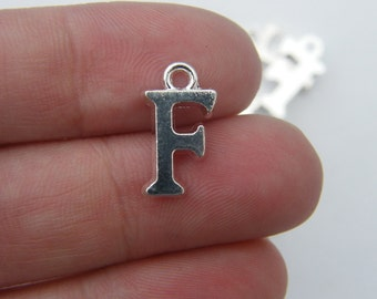 8 Letter F alphabet charms silver plated