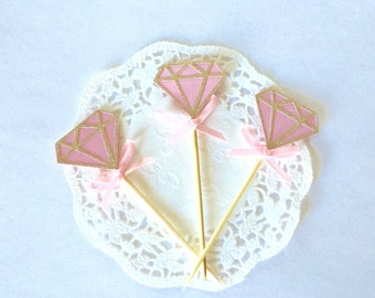 20 Gold Glitter and pink diamonds Cupcake Toppers With Pink Bow, engagement party, bridal shower