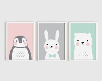 Printable Nursery Art Set of 3 Poster Baby Wall art Kids room decor Pink Gray Mint Penguin Bunny Bear Animals Print A4, A3, 8x10, 11x14