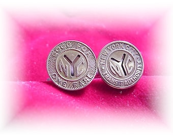 Small size New York City Token cufflinks NYC subway gift boxed