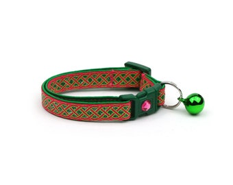 St. Patrick's Day Cat Collar - Celtic Knots on Bright Pink- Small Cat / Kitten or Large Cat Collar