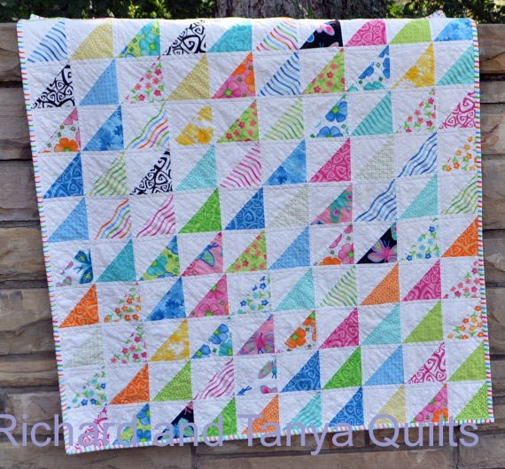Half Square Triangle Crib Quilt Pattern for 40 by 40 inch baby : half square quilt patterns - Adamdwight.com