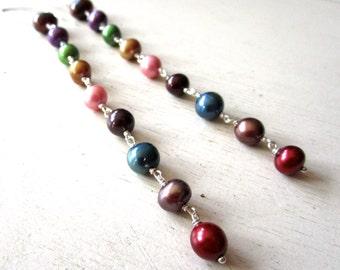 SALE Juicy Fruit Pearl Earrings - Super Long - Sterling Silver - Etsy Jewelry - catROCKS - Grace and Frankie - Pink Red Blue Gold Purple