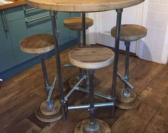 Large Tripod Poseur Table 85cm, 3 Legs, Reclaimed Scaffold Board and Galvanised Steel