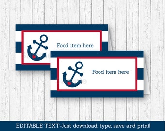 Nautical Anchor Buffet Cards / Food Labels / Place Cards / Nautical Baby Shower / INSTANT DOWNLOAD Editable PDF A212