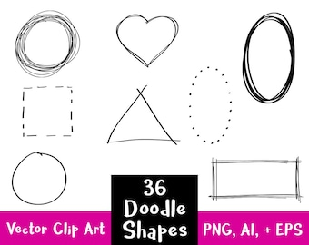 36 Doodle Clipart Shapes, Sketch Clipart, Basic Shapes Clipart, Heart Clipart, Circle Frame Clipart, Rectangle Border, Commercial Use