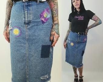 High Waist Patched Denim Midi Pencil Skirt - Highwaisted Celestial Patch Jean Skirt Shredded Raw Hem Holey Distressed Acid Wash 90s Vintage