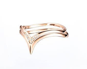 Diamond anniversary band Ring for her Diamond wedding band Rose gold anniversary Commitment ring for her for him Handmade engagement ring