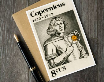 Science birthday cards, scientist retirement cards, science teacher gift card, astronomy greeting card, mathematician gift ideas, Copernicus