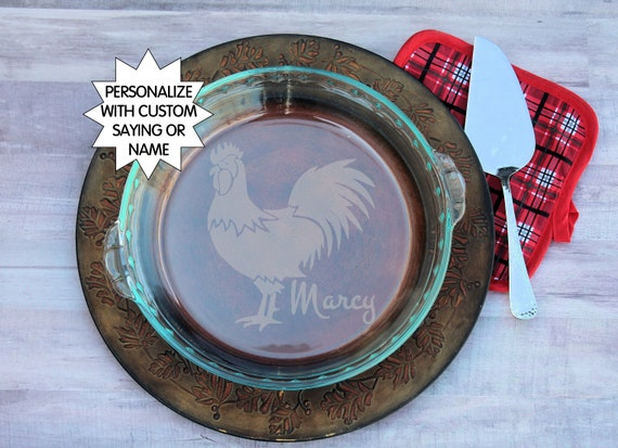 Monogram Pie dish Custom Bake dish Personalized Pie Plate Chicken Lover gift Poultry Gift for baker Personalized pie pan Chicken pan from ... & Monogram Pie dish Custom Bake dish Personalized Pie Plate Chicken ...
