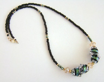 Dragon Ribbon Necklace, Green Lampwork Dichroic Glass Bead Necklace, Lampwork Glass Swarovski Crystal Necklace, Black Seed Bead Necklace