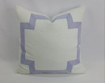 Lavender Large Cross Ribbon Embellished on White Linen Blend Pillow Cover