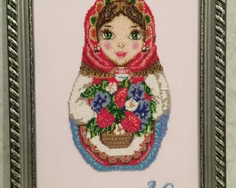 "Picture of beads, embroidery with beads, ""Matryoshka Leto"""