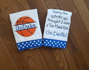 Duke baby shower etsy go duke personalized basketball burp cloths duke baby game day devils baby game day negle Choice Image