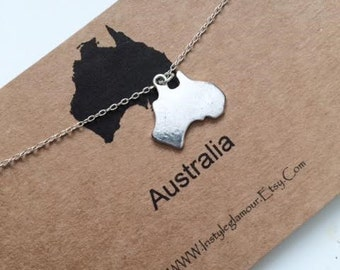 Australia Necklace, Continent Necklace, Australia Charm Necklace, Birthday Gift,Christmas Gift,Mothers Day Gift