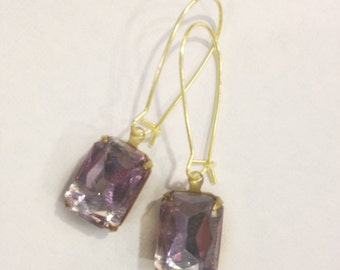 Vintage Crystal Earrings in Light Amethyst, Violet Crystal Earrings, One Of A Kind, Amethyst & Gold Earrings, Violet Earrings,