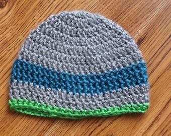 Grey, Blue and Green Crochet Beanie