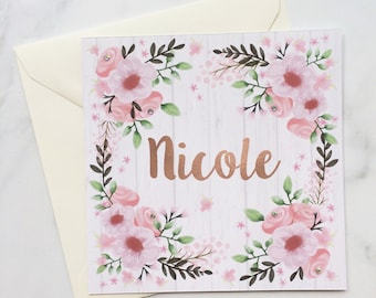 Pink Birthday Card, Birthday Card for Her, Floral Card, Mum Card, Mother's Day Card, Mom Card, Watercolour Card, Flower Card, Name Card
