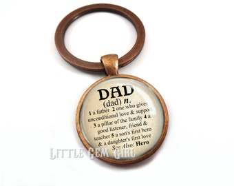 Custom Dad Key Chain - Dad Dictionary Defintion Keychain - Gift for Fathers Day - Father's Day Key Personalized Daddy Key Chain Charm