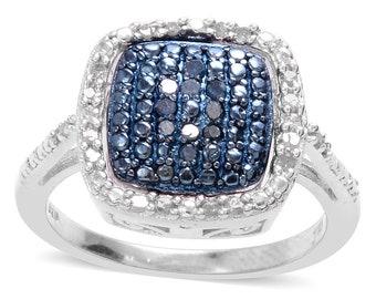 Pav'e Blue Diamond Reversible  Sterling Silver Ring