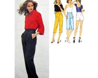 1980 Simplicity 9071 Misses' Pants in Four Lengths:  Shorts, Capri Pants, Knee Length Shorts Sewing Pattern Size 12 Waist 67cm