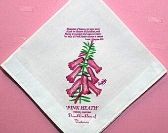 60% DISCOUNT: Ladies White Cotton Handkerchief-featured Print Pink Heath-Floral Emblem of Victoria, Australia, Epacris Impresss