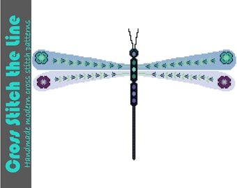Modern cross stitch pattern of a delicate dragonfly. Contemporary floral and geometric design. Boho embroidery chart.