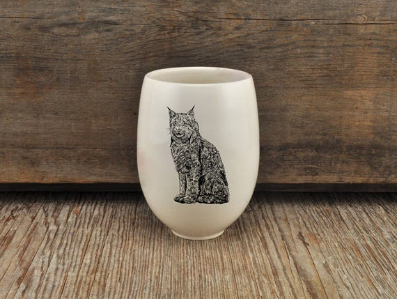 Handmade Porcelain wine tumbler with Canada lynx drawing Canadian Wildlife collection