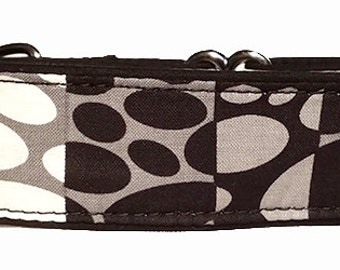 """Black Gray and White 1.5""""  Martingale Collar-"""