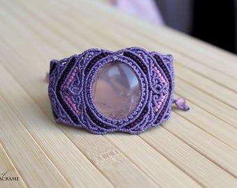 Rose quartz micro macrame bracelet| Purple handmade healing jewelry| Gifts for women| Heart chakra| Gemstone| MagicOfMacrame|