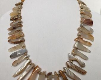 Botswana Agate and Cream Quartz Talon Necklace