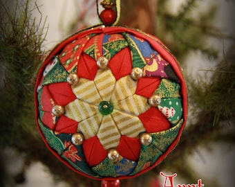 Handmade Quilted & Beaded Christmas Ball Ornament Red Green Gold
