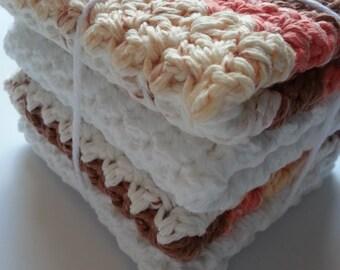 Dish Cloths, Crochet Dish Cloth, Brown Dish Cloth, Pink Dish Cloth, White Dish Cloth, Crochet Kitchen Set