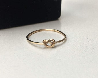 Solid Gold Knot Ring - 18 Gauge/1.02mm Thick - 14K Solid Gold Love Knot Ring - Minimalist Jewelry - Marked 14K