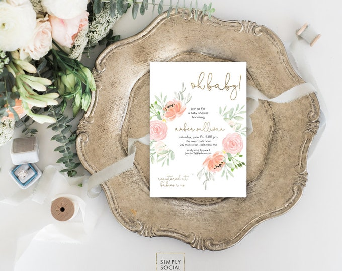 Pink Floral Baby Shower Invitation - Garden Shower - Oh Baby! Peony Roses Blush Pink Invitation Watercolor faux gold foil Printable