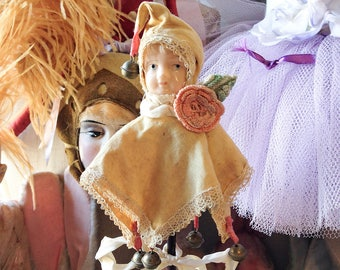 Vintage marotte doll celluloid face jester stick antique clown doll wand bell rattle toy sceptre