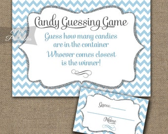 Candy Guessing Game - Blue Chevron Printable Baby Shower, Bridal Shower Candy Jar Game - Blue White Shower Games - Instant Download - BCH